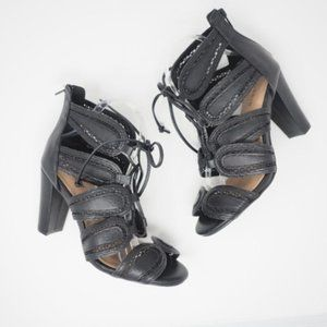 Torrid Scalloped Lace Up Cut Out Heels Black 8W